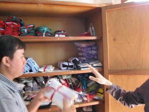 村へ届ける材料の入った棚 カマクラフト事務所にて